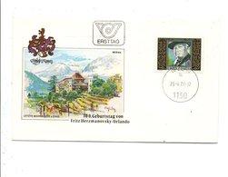 AUTRICHE FDC 1977 FRITZ HERZMANOVSKY_ORLANDO ECRIVAIN - FDC