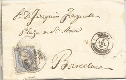 ENVUELTA DE BERGA A BARCELONA 1870 - Cartas