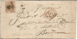 BILBAO 1872 A BORDEAUX FRANCIA SELLO 12 CUARTOS EN SOBRE MECANIZADO - Cartas