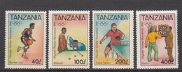 1992 Tanzania Barcelona Olympics Basketball, Billiards, Darts, Table Tennis Set Of 4 MNH - Tansania (1964-...)