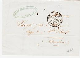 France,  De Paris En 1854, Taxe 25 Route 11 Et 3è D  Pour Saint Pons ( Herault )  TB - 1849-1876: Période Classique