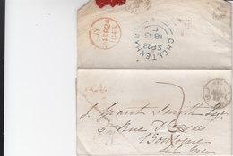 Marque D'entrée Ang 1 Boulogne 1 Lettre De 1845  Port Du - Marcophilie (Lettres)