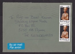 Egypt: Airmail Cover To Netherlands, 1990s, 2 Stamps, Statue Farao, Archeology, Air Label (roughly Opened) - Egypte