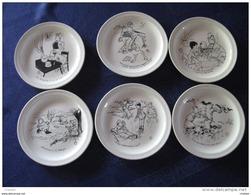 6 Assiettes Humoristiques Signées Par Jean Bellus , Faiencerie De Saint Amand . En Bon état - Saint Amand (FRA)