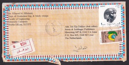 Egypt: Registered Airmail Cover To Netherlands, 1990s, 2 Stamps, Mask, Sculpture, Archeology, Peace, R-label (damaged) - Egypte