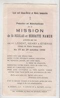 Namur Souvenir De Mission 1950 - Faire-part