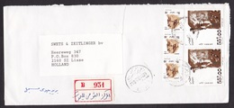 Egypt: Registered Airmail Cover To Netherlands, 1994, 5 Stamps, Mask, Farao, Sphinx, Archeology, R-label (damaged) - Egypte