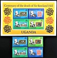# Uganda 1979**Mi.254-57 + Bl.20  100th Anniversary Of The Death Of Rowland Hill , MNH [20;7] - Rowland Hill