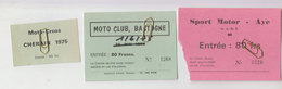 Moto Cross Bastogne, Cherain, Aye   1975 - Tickets D'entrée