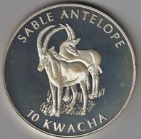 @Y@  Malawi   10  Kwacha  2002   Antilope   Proof  Zilver - Malawi