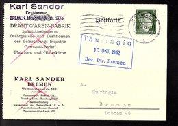1942 Karl Sander Drachtwaren Bremen > Thuringia Dobben 48 Bremen (R5-13) - Alemania