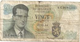ROYAUME DE BELGIQUE - TRESORERIE . 20 FRANCS . 15-06-1964 .  1 C 9681211 . 2 SCANES  . 2 SCANES - [ 6] Trésorerie