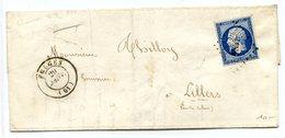 France - N°14 Sur Lettre De Fruges (PC1351) - Cachet D'entrée Utilisé Comme Ambulant Au Dos - (B1284) - 1849-1876: Classic Period
