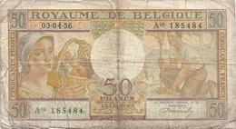 ROYAUME DE BELGIQUE - TRESORERIE . 50 FRANCS . 03-04-1956 .  N° A08 185484  . 2 SCANES - [ 6] Trésorerie