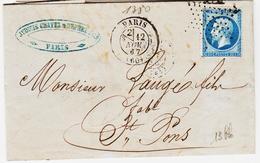 France, De Paris En 1867 , Etoile Muette  Et Timbre à Date Ref 1380, Sur N°22 Pour Saint Pons  TB - 1849-1876: Période Classique