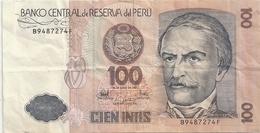 BANCO CENTRAL DE RESERVA DEL PERU .  100 INTIS . 26 DE JUNIO DE 1987 . B9487274F   . 2 SCANES - Pérou
