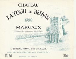 *** ETIQUETTES  ***- Appellation BORDEAUX  - MARGAUX  La Tour De Bessan 1989 - Bordeaux