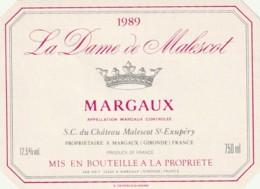 *** ETIQUETTES  ***- Appellation BORDEAUX  - MARGAUX  La Dame De Malescot 1989 - Bordeaux
