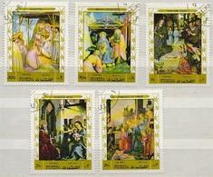 Fujeira 1979 Paintings Giotto B.Angelico Van Der Goes K. Witz Et L. Di Crédi, Gestempelt, Used, Oblitéré, Christmas - Fudschaira