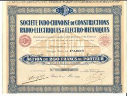 ACTION Sté INDO-CHINOISE De CONSTRUCTIONS RADIO-ELECTRIQUES & ELECTRO-MECANIQUES - Asie