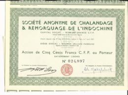 ACTION Sté De CHALANDAGE & REMORQUAGE De L'INDOCHINE - NOUMEA En NOUVELLE CALEDONIE - Asie