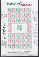 Feuille Marianne Et La Jeunesse N° F4774A ** (Tirage 40 000 Ex)) - Feuilles Complètes