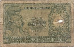 REPUBLICA ITALIANA . BIGLIETTO Di STATO . 50 LIRE . 31.12.1951   . 2 SCANES - [ 2] 1946-… : Repubblica