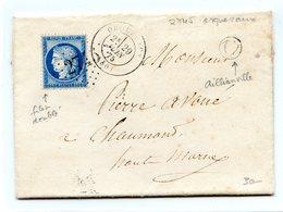 France N°60 (filet Doublé) Sur Lettre Rare GC 2745 (Orguevaux) + Cachet De Facteur C - (B1293) - 1849-1876: Klassieke Periode