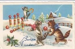 Thèmes - Carte Fantaisie -Lot De 2 Cartes - Bonne Année - 2 Jeunes Chatons Jouent Aux Quilles - Bouquet De Violettes - Dressed Animals
