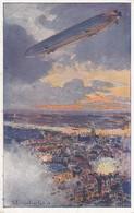 AK Zeppelin über Antwerpen - Bombardierung - Künstlerkarte Eckenbrecher - Luftflotten-Verein - 1. WK (38200) - Guerre 1914-18