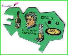 Magnet Le Gaulois Les Ville Du Monde N° 43 RENNES France Vicomte De Chateaubriand - Magnets