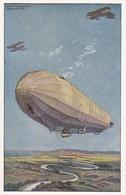 AK Militärluftkreuzer Hansa Im Kampf M Fdl. Fliegern - Künstlerkarte Schulze - Luftflotten-Verein - 1. WK (38203) - Guerre 1914-18