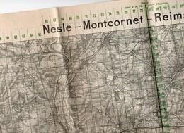 CARTE ETAT MAJOR ALLEMAND 11 MAI 1918 Region SOISSONS .NESLE .REIMS .MONTCORNET  POSITION TROUPES PONTS Guerre 14.18 - Documenti