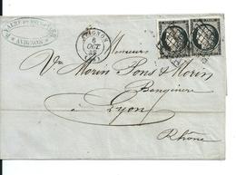 Lettre Avec Classique De France/ 2 Cèrès 20c Noir N°3a, 2ème échelon De Poids, Avignon/Lyon, 6 Octobre 1849, Cote:170e - 1849-1850 Ceres