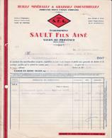 13 SALON DE PROVENCE FACTURE 1936 Huiles Minérales & Graisses Industrielles Ets SAULT Marque S.F.A.  A96 - 1900 – 1949