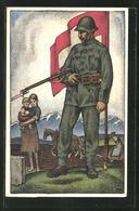 Künstler-AK Schweizer Soldat In Uniform Mit Stahlhelm, Bajonett Und Fahne, Nationalspende - Militaria