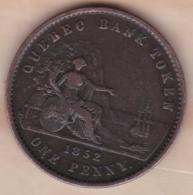 Canada Québec Bank Token 2 Sous 1 Penny 1852. Cuivre . KM# Tn21 - Canada