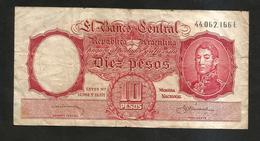 ARGENTINA - El BANCO CENTRAL De La REPUBLICA ARGENTINA - 10 PESOS - - Argentina