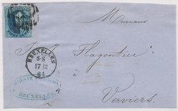 1861 BRIEFDEEL VAN BRUXELLES NAAR VERVIERS MET COB 11 ZIE SCAN(S) - 1858-1862 Medallions (9/12)