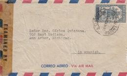 LETTRE COVER.  MEXICO NEW-YORK 1943 CENSOR - Briefmarken