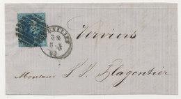 1862 BRIEFDEEL VAN BRUXELLES NAAR VERVIERS MET COB 11 ZIE SCAN(S) - 1858-1862 Medallions (9/12)