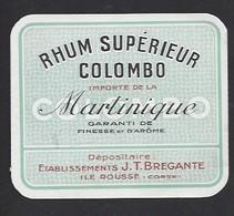 Etiquette De Rhum Martinique Supérieur  -  Colombo  -  Ets JT Bregante  Ile Rousse   Corse (20)  -  9.4 X 8 Cm - Etiquettes