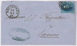 1863 BRIEFDEEL VAN BRUXELLES NAAR VERVIERS MET COB 11 ZIE SCAN(S) - 1858-1862 Medallions (9/12)