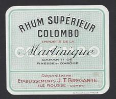 Etiquette De Rhum Martinique Supérieur  -  Colombo  -  Ets JT Bregante  Ile Rousse   Corse (20)  - 10.3 X 11.4 Cm - Etiquettes