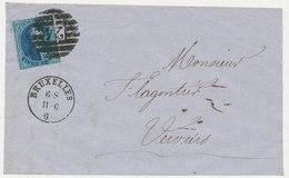 186? BRIEFDEEL VAN BRUXELLES NAAR VERVIERS MET COB 11 ZIE SCAN(S) - 1858-1862 Medallions (9/12)