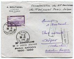 RC 10733 ALGERIE 1950 - 20e ANNIVERSAIRE DE LA LIAISON AERIENNE PARIS SAIGON INDOCHINE TB - Airmail