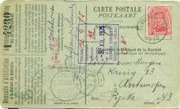 Nr. 138 Op Postkaart Met Stempel Denderwindeke + Gemeentestempel Adm. Comm. De Denderwindeke : 1920 - Marcophilie
