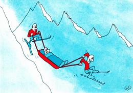 DELAUNAY Guy  Ed Mythra  D13  - Humour  Ski  Ivresse Descente Secours En Montagne -   CPM  10,5x15  état Luxe 1984 Neuve - Illustrators & Photographers