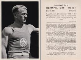 OLYMPIA 1936 - HALTÈRES : RUDOLF ISMAYR - CHAMPION OLYMPIQUE En 1932 - À VOIR DÉTAILS AU DOS ! (z-362) - Haltérophilie