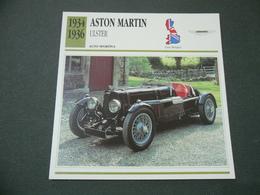 CARTOLINA CARD SCHEDA TECNICA AUTO   ASTON MARTIN ULSTER - Autres Collections